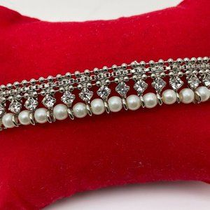 Anklet Women Jewelry Silver Tone Faux Pearl White